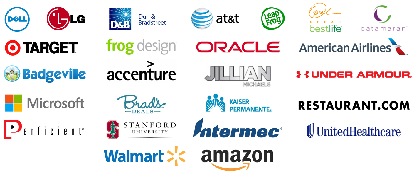Clients include LG, UnderArmour, Dell, Walmart, Target, Kaiser Permanente, United Healthcare, Amazon, etc.